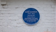 Placa en memoria de Jane Austen en Stanford Cottage