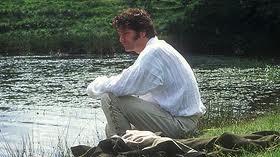 Colin Firth en la versión de 1995. Esta escena no existe en la novela.