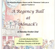 Esta tarde, Baile Anual de Regencia de los Hampshire RegencyDancers