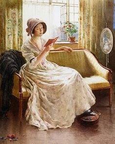 "William Kay Blacklock (1872-1924) - ""A Quiet Read"", c. 1900. Jane Austin era woman reading"