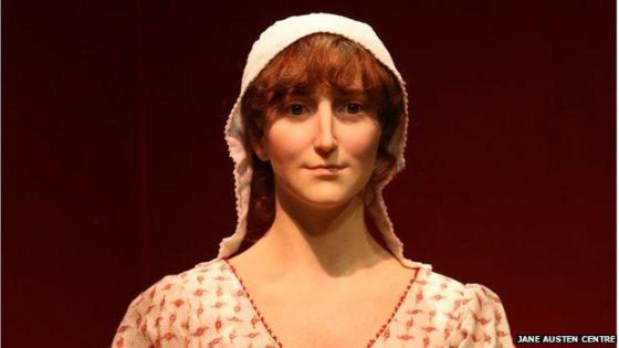 Figura de cera de Jane Austen basada en datos forenses