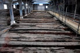 Los tablones del Namur tal y como se encontraron en el taller de carretería del astillero de Chatham