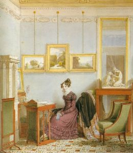 ENDER, Johann Woman at her Writing Desk 1820 Watercolour 3y