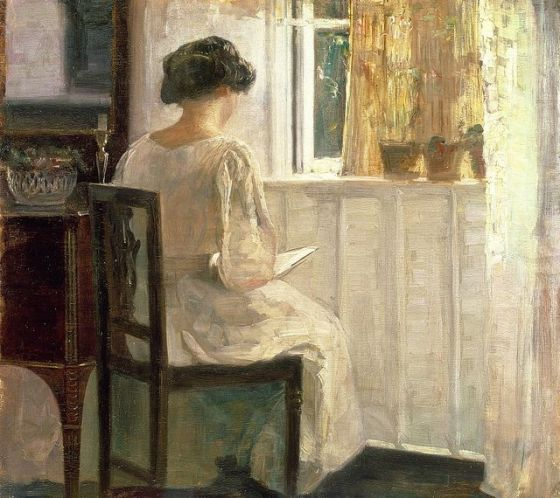 'Girl Reading in a Sunlit Room' Carl Vilhelm Holsøe [Danish artist, 1863